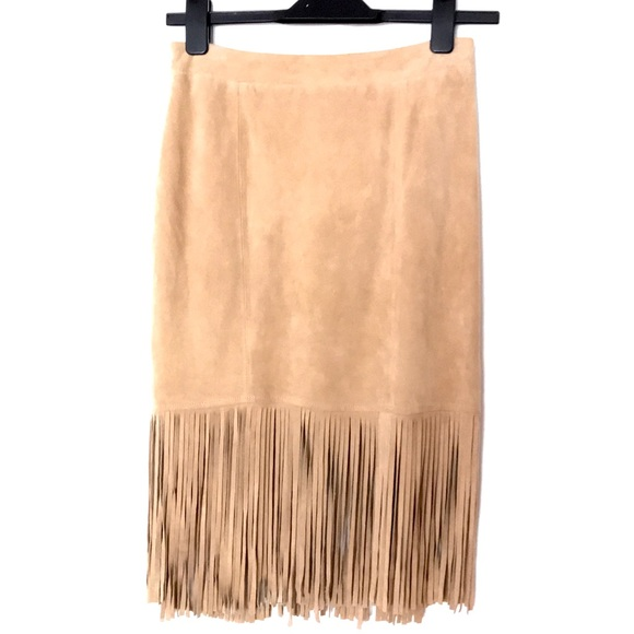 Neiman Marcus Dresses & Skirts - CUSP Neiman Marcus Suede Fringe Skirt Leather NWOT